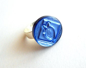 Cobalt blue ring adjustable made of repurposed button royal blue ring recycled jewelry blue button ring eco friendly jewelry statement ring