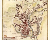 Bath 1840. Antique map of the City of Bath, England by Thomas Moule - MAP PRINT