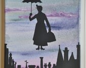 Mary Poppins painting, Mary Poppins silhouette painting, abstract Mary Poppins, Disney painting, Disney decor