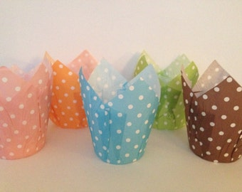 24 Tulip Muffin Cupcake Baking Liner Polka Dots Standard Size