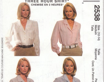 Tailored Blouse Pattern McCalls 2538 Size 12/14