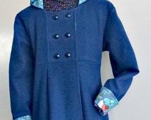 Wool Winter Coat, Custom Designed , Women's Parka, Shown in Dark Blue Italian Wool Flannel