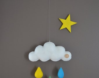 Hand made decorative hanging cloud mobile