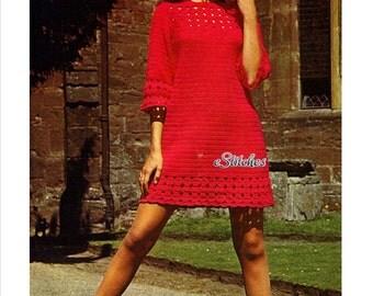 1960s Lace Crochet Tunic Dress, Great beginner dress - Crochet pattern PDF 6232