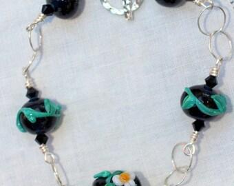 Lampwork Bead Bracelet, Beaded Bracelet, Handmade Leaky Pen Lampwork Beads, Sterling Silver Wire Wrapped