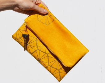 Yellow Vegan Suede Fold Clutch - Shiny Charcoal Honeycomb Pattern and Hedron Tassel