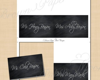 Chalkboard Place Card Tent: Text-Editable, Printable on Avery 5302, 5820 or 8820, Instant Download