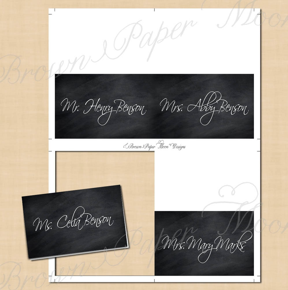 chalkboard place card tent  text