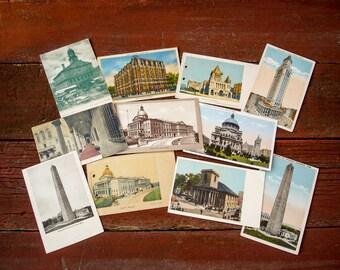 Early 1900s Boston, Massachusetts Postcard Collection Lot of 11 Antique Vintage Postcards of Boston Landmarks