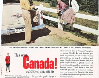 vintage ad for Canada, a tourism ad from the 1950's, from 1954.