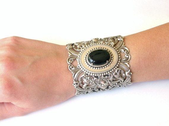 Victorian Silver Lace Oversized Cuff - Black Onyx Gemstone - Victorian Gothic Jewelry