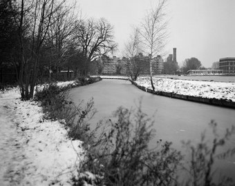 Frozen Reservoir In London 120 mm Black and White Photography Winter Snow Scene In City UK Shop Bleak Lake Winter Photography Winter Tree