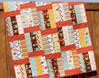 Giraffe Crossing Brown Baby Boy Quilt Brown Red Yellow Aqua Cream Handmade Crib Blanket