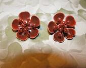 Vintage Rust Brown Enamel Flower Clip On Earrings