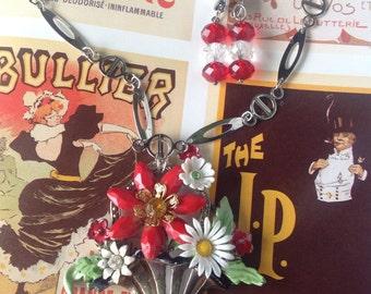 Vintage Handmade Ooak Scarlet Bloom Enamel Flower Rhinestone Necklace Earrings Set