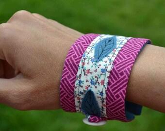 Teal leaves fabric cuff bracelet magenta cotton print floral button loop closure women teen Boho purple blue Fall Spring Summer gift