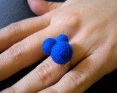 Felted Treble Ball Ring .Blue Felt Ring. Gift for girl ,gift for mom,gift for sister.