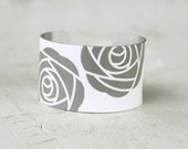 Grey Rose Bracelet - Rose Cuff Bracelet - Gray and White Cuff - Rose Jewelry - Ladies Bracelet - Large Cuff Bracelet by Zoe Madison (206)