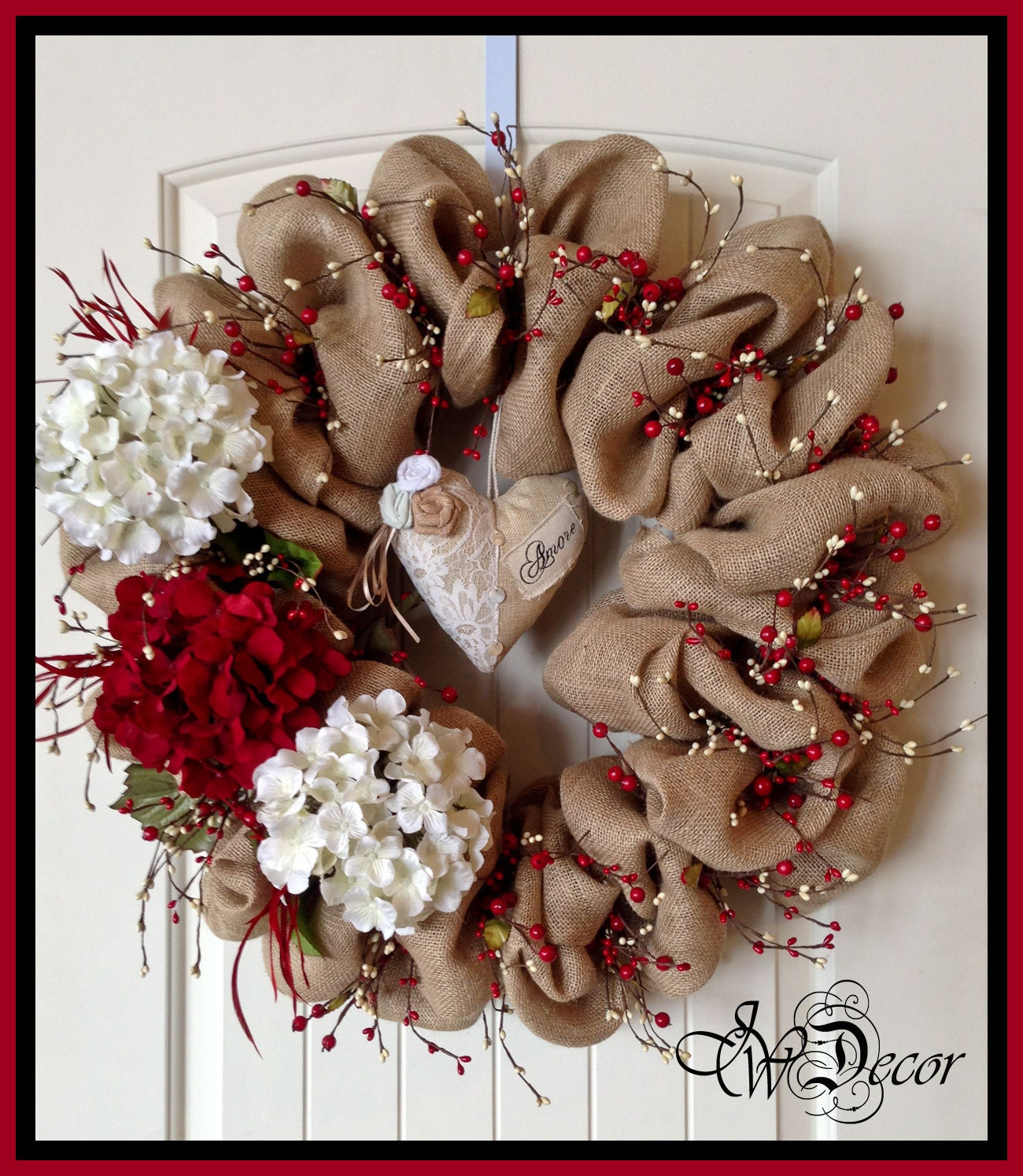 Burlap Wreaths Valentines Wreaths Heart Wreath Berries Red