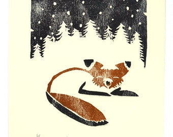 SALE- Woodcut of Snowy Fox - Original 8 x 10 Print - FREE SHIPPING