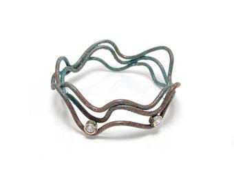 Cubic Zirconia Copper Bracelet Bangle - Rustic Gemstone Bracelet - cz Bangle - Faux Diamond Bangles - Copper Jewelry - Bohemian WWCZ-ADC-SM