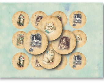 Digital Collage Sheet Download - Cats 2.5 inch Circles  -  762   for Jewelry Pendants - Instant Download Printables