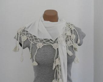 Off White Scarf, Cotton Scarf, Women Shawl, Crochet Flowers, Wedding Fashion