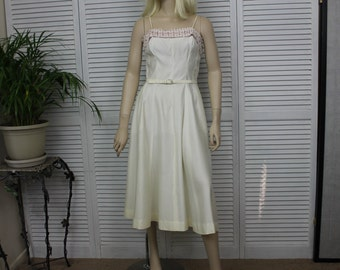 Vintage Ivory Long 1950s Dress by Natlynn Size 15