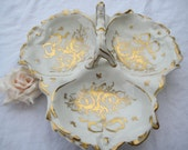 RESERVED for Sofi....Beautiful Hand Painted Three Part Divided Nut Dish/ Olive Dish/ Made in France/ Collectible Vintage Bowl
