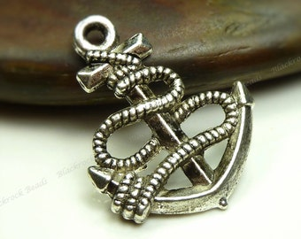 8 Boat Anchor Charms (Double Sided) - Antique Silver Tone - 24x19mm - Boating Charms, Nautical Pendants - BM5