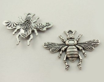 4 Bee Charms,  Double sided Charm Antique Silver 32 x 23 mm  U.S Seller  ts297