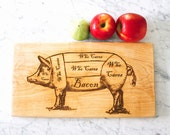 Bacon lovers wooden cutting board. Butcher's Diagram Pig engraved wood. Unique gourmet foodie gift idea under 50