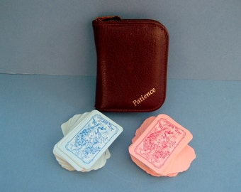 1930s Card Game Patience Set in Original Lined Leather Case Vintage Art Deco Games