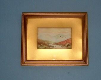 Edwardian Landscape Painting in Original Original Art Antique Watercolor 1910s