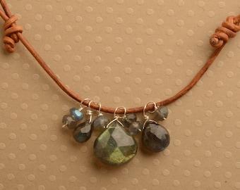 Labradorite Leather Necklace, Healing Gemstone Necklace, Adjustable Leather Necklace, Blue Gray Gemstone Necklace