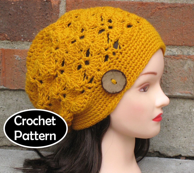 Crochet Slouch Hat: CROCHET HAT PATTERN Instant Pdf Download Lotte Slouch Hat