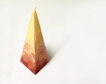 Pyramid Candle - Handpainted Candle in Brown Cream Colors - Hand Made Rustic Candle Pyramid - Rustic Table Decor - Rustic Home Decor