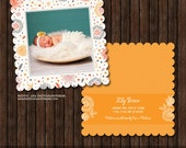 INSTANT DownloadLuxe 5x5 Birth Announcement Card Template - B18