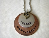 Layered mixed metal hand stamped necklace with names or words and birthstone pearl or heart