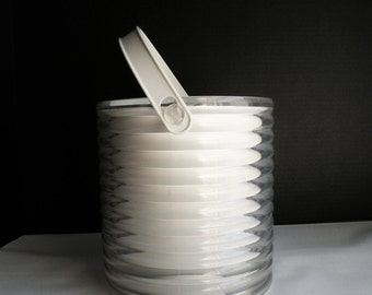 Vintage White and Lucite Ribbed Ice Bucket / 70s Barware