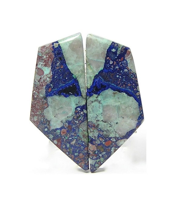Arizona Azurite in Copper Stone Matrix Matched Cabochon Earring Pair 22.5 cts total