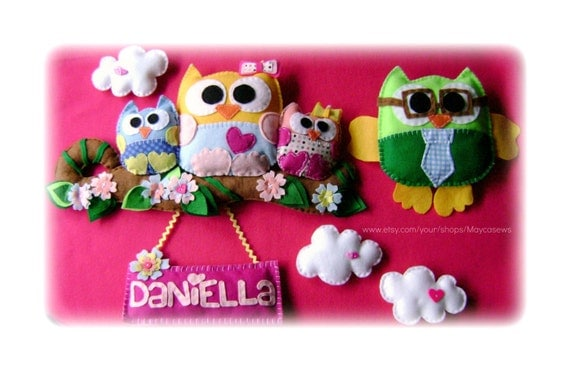 Owl Family Portrait. Wall Hanging. Personalized. 3D Wall Decor. For Nursery or Kids' Room. Photo Prop.