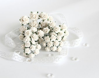 50 pcs - Set of White paper rose / mulberry paper roses