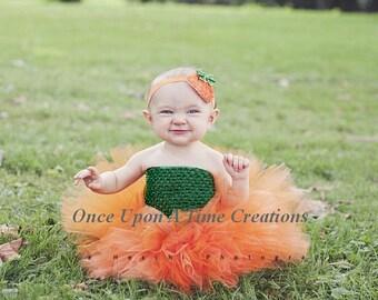 Autumn Pumpkin Tutu Dress - Girls Size Newborn 3 6 9 12 18 24 Months 3T 4 5 6 - Halloween Costume, Orange & Hunter Green - Ready To Ship