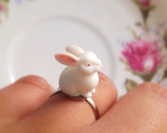 White Rabbit Ring. Adjustable Silver Ring. Cute Woodland Creatures. Under 10. Bunny Rabbit Ring. Easter. Gifts for Her.