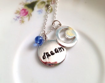 Dream Necklace. Word Jewelry. Message Jewelry. Gifts for Her Under 15. Blue. Everyday Jewelry. Inspirational Gifts. Silver Chain. Disc