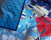 Baby Boy Quilt - Beach - Lake - Nautical Theme - Blue