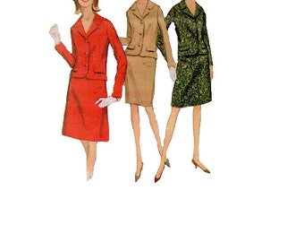 McCall's 8488 Sewing Pattern Retro Mod Mad Men Jackie O Style Two Piece Misses Suit Skirt Jacket Business Casual Uncut Bust 32