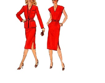 Retro Disco Dress 1980s Vogue 7584 Sewing Pattern New Wave Style Basic Collarless Jacket Belted Blazer Business Casual Uncut Bust 37