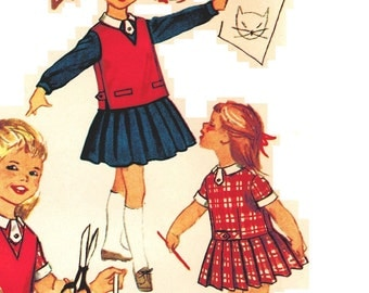 Simplicity 2673 Vintage 50s Ultimate Toddler Girls Back to Pre School Dress with Pleats - Drop Waist - and Jerkin Sewing Pattern Size 2